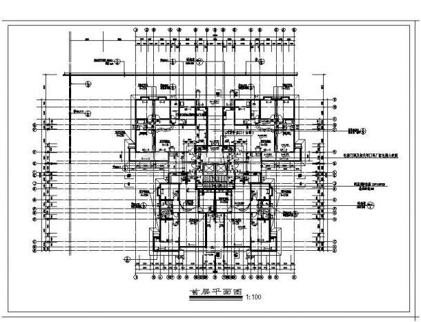某高层电梯点式住宅楼结构设计图CAD规划详图-图二
