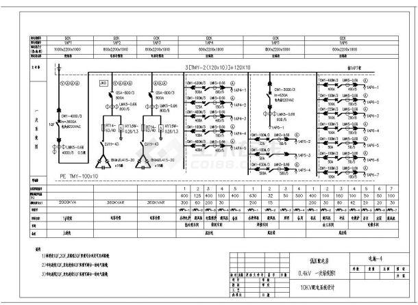 某市配电系统结构布置设计图CAD规划详图-图一