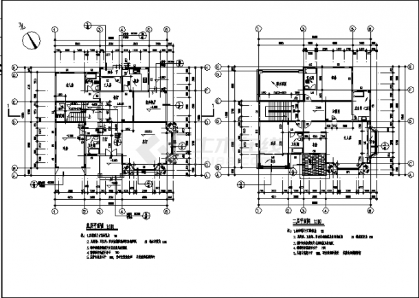 北京某豪华别墅住宅楼建筑结构设计施工cad图纸-图二