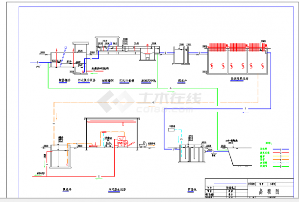 四川某县城市污水处理工程方案设计CAD施工图纸-图一