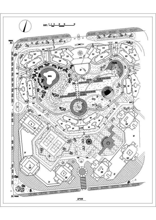 高层精装修小区规划设计图纸-图一