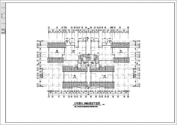 某商业区高层住宅楼整套cad设计施工全套图-图一