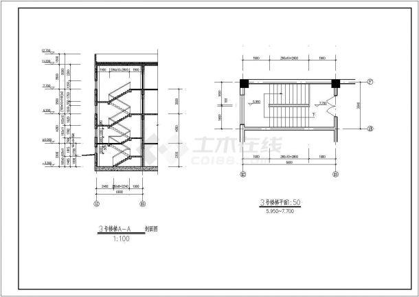 高档白银多层商务综合楼全套cad施工设计图纸-图二