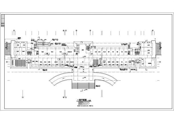 上海某简约式多层办公楼全套施工设计cad图纸-图二