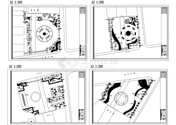 静海增光渠滨河景观规划设计cad总平面施工图(标注详细)-图二
