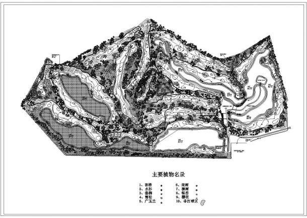 双山高尔夫球场绿化规划设计cad总平面布置图(标注详细)-图一