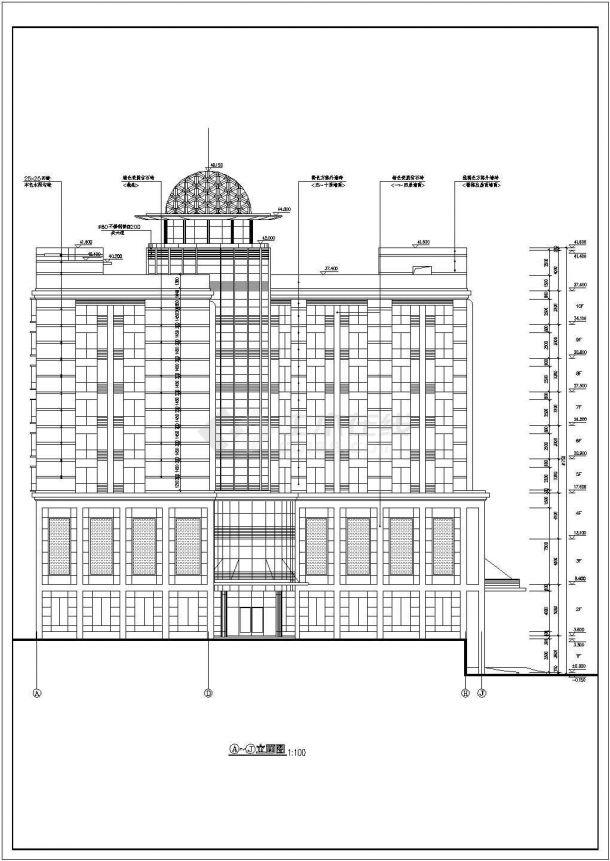 浙江省杭州市酒店式多层公寓楼全套建筑施工设计cad图(含屋顶平面图)-图一