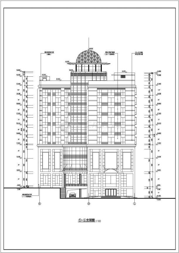 浙江省杭州市酒店式多层公寓楼全套建筑施工设计cad图(含屋顶平面图)-图二