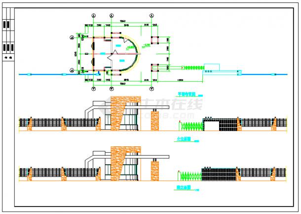传达室 大门建筑方案cad设计图纸-图一