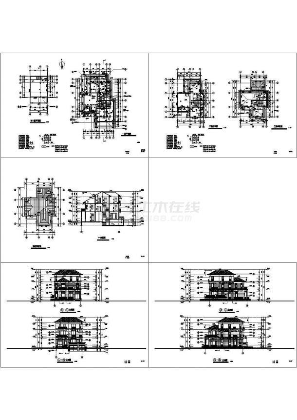 一套完整的别墅建筑结构施工图5张cad-图一