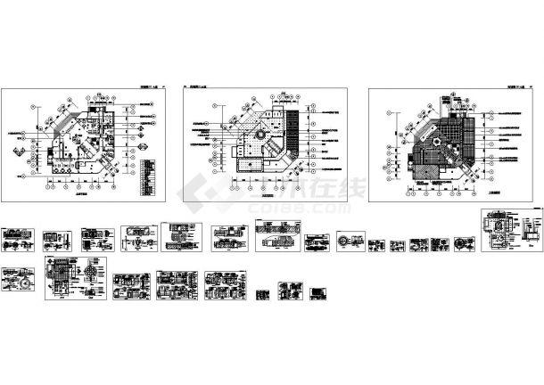某城市多层高级宾馆大堂建筑完整设计施工方案CAD图纸-图一