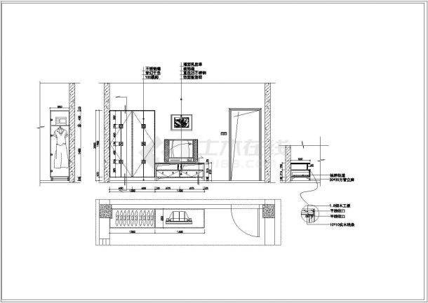 标准两居室家居装饰建筑设计施工图-图二
