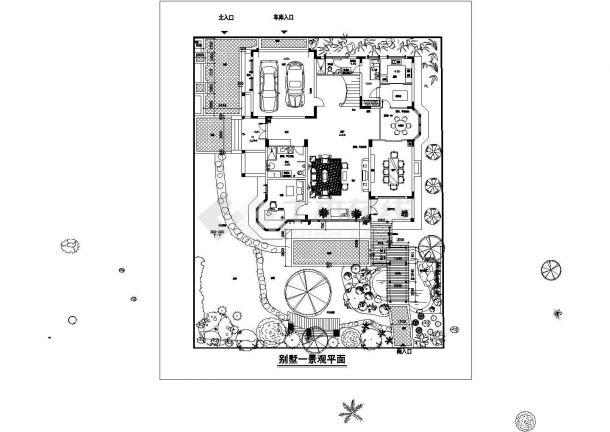 别墅庭院景观绿化平面图Cad设计图-图一