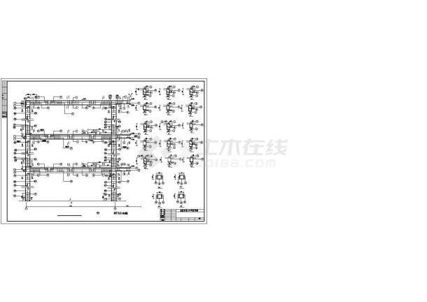 锦州市某财务会计培训学校3层框架结构教学楼建筑结构设计CAD图纸-图二