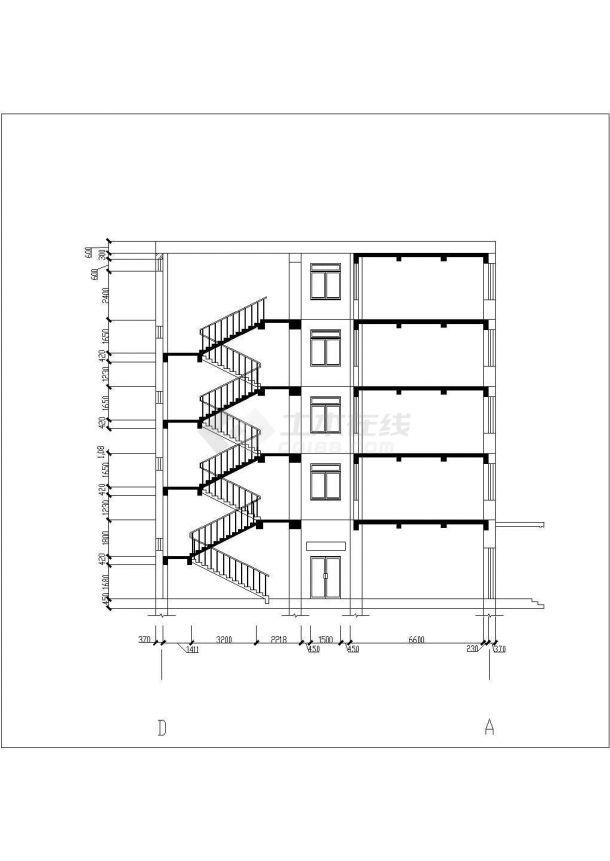 安康市某职业技工学院5层框架结构教学楼全套建筑结构设计CAD图纸-图二