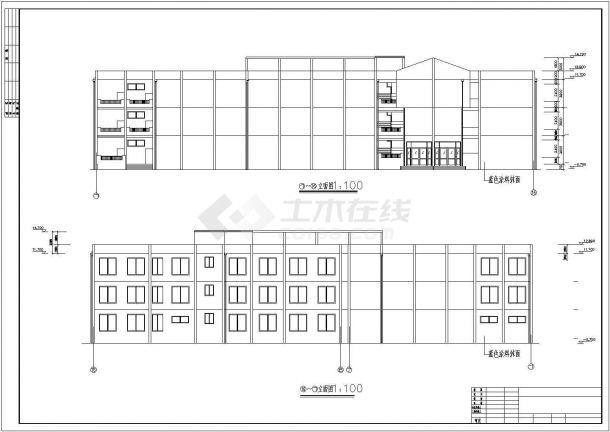 海口市第一中学3层框架结构教学楼全套建筑结构设计CAD图纸-图一