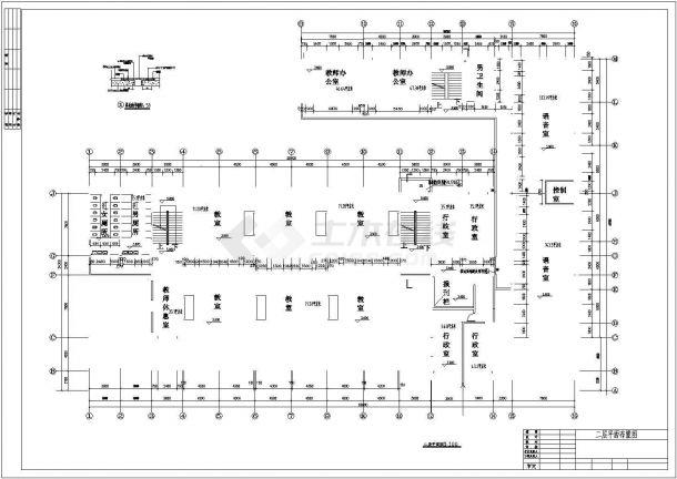 海口市第一中学3层框架结构教学楼全套建筑结构设计CAD图纸-图二