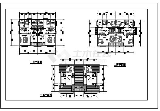 某地区三层别墅cad建筑设计图-图一