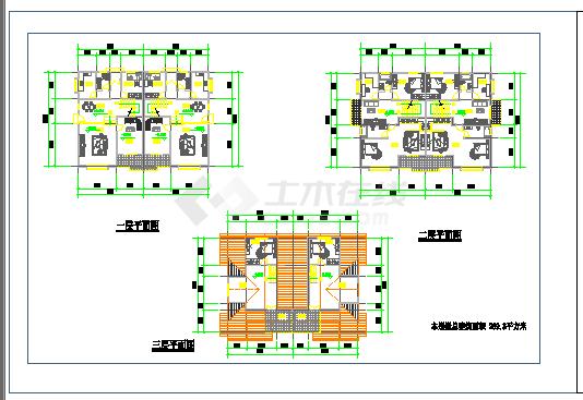 某地区三层别墅cad建筑设计图-图二