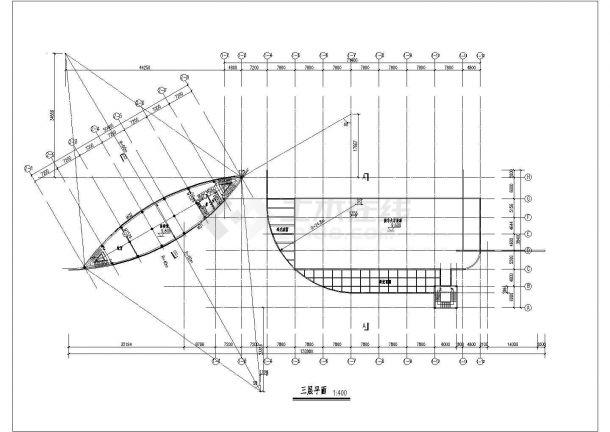 7633平方米长途汽车客运站施工设计cad图纸(五层)-图一