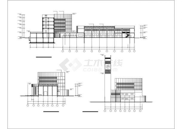 7633平方米长途汽车客运站施工设计cad图纸(五层)-图二