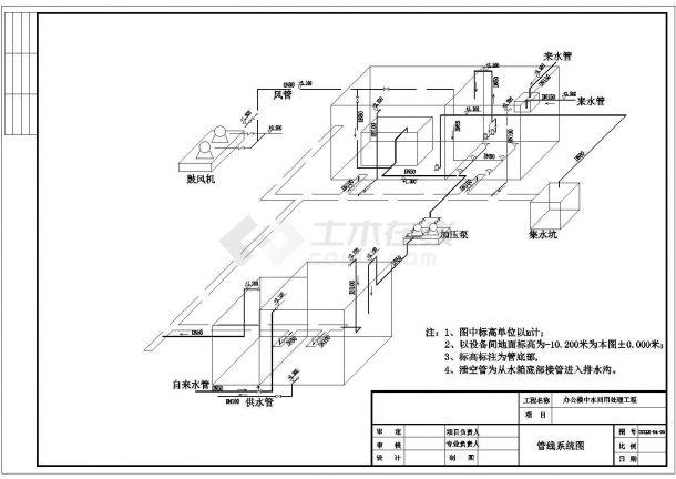 某120立方/天办公楼中水回用水处理工程设计cad施工图(膜生物反应,含设计说明)-图一