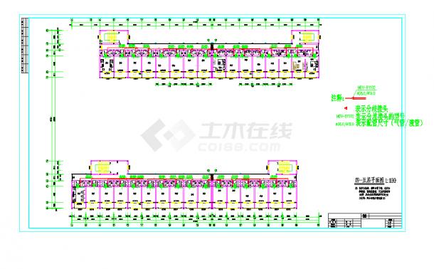某地某公司宿舍楼变频多联空调设计CAD施工图纸-图一