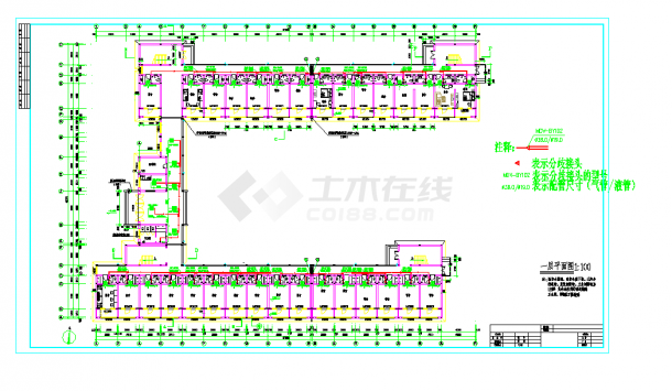 某地某公司宿舍楼变频多联空调设计CAD施工图纸-图二