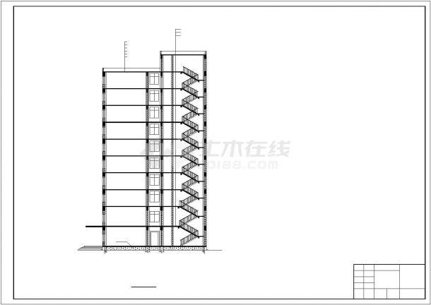 无锡科技产业园1.3万平米10层框架结构办公楼建筑结构设计CAD图纸-图二