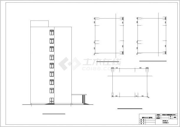 西安市莲湖区某市政单位1.3平9层框架结构办公楼建筑结构设计CAD图纸-图一