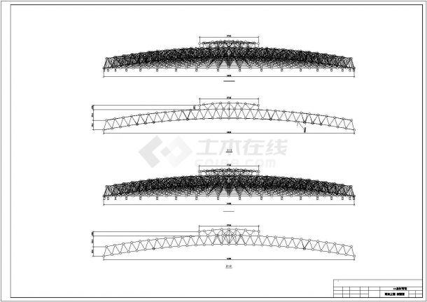 某圆形网壳体育馆建筑结构设计施工CAD图纸-图一