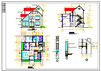 某别墅结构建筑方案cad设计图-图二
