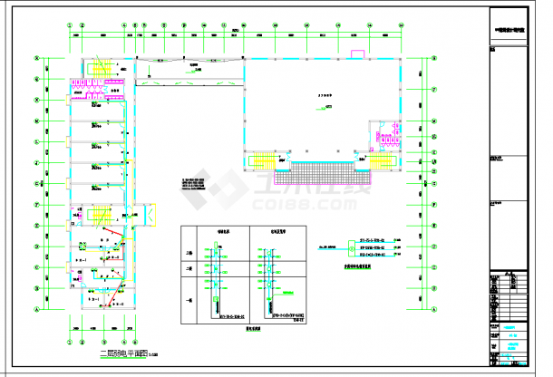 某地江苏某科技公司员工宿舍楼电气设计CAD施工图纸-图二