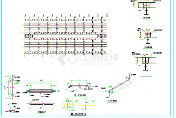 某地222x25m轻钢结构农场牛舍施工图CAD图纸-图一