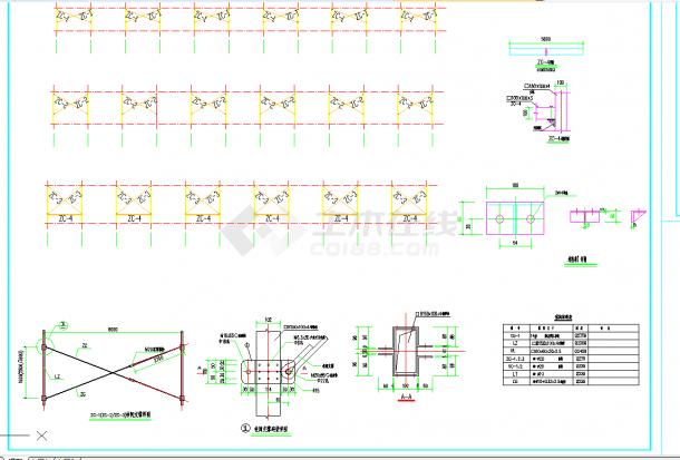 某地222x25m轻钢结构农场牛舍施工图CAD图纸-图二