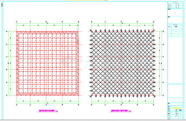 安徽篮球场网架屋面结构施工图CAD图纸-图一