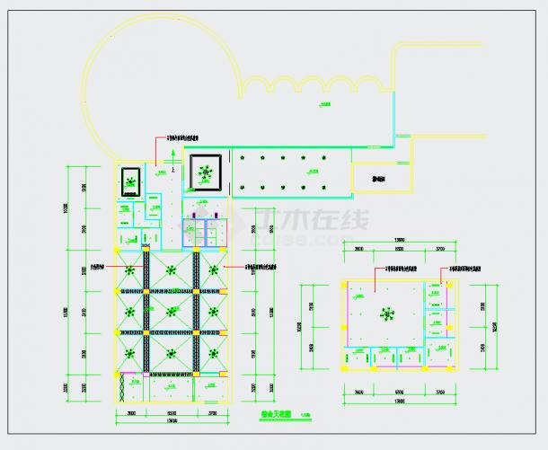 成都高档四星级花园酒店咖啡厅施工图含效果CAD图纸-图一