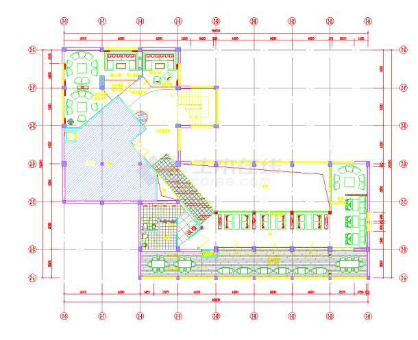 江苏某时尚咖啡厅室内装修施工图含效果CAD图纸-图二