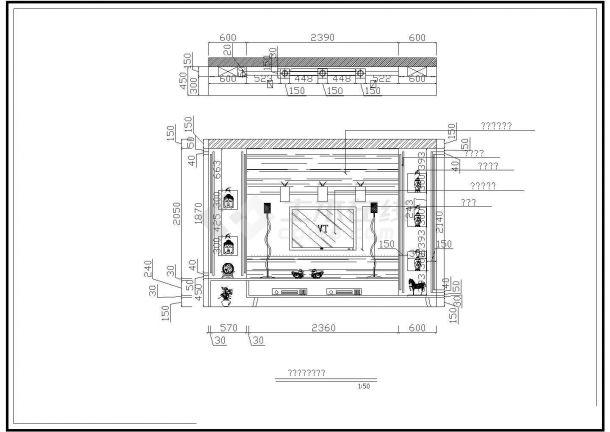 某豪华住宅室内装修全套设计cad平面图-图二