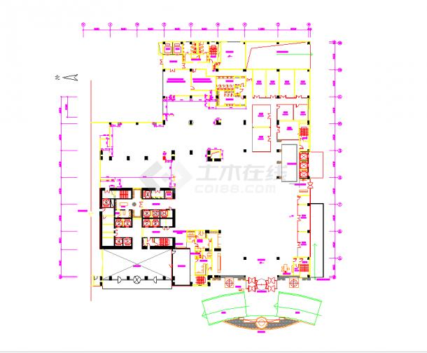 某地知名酒店咖啡厅室内施工图CAD图纸-图一