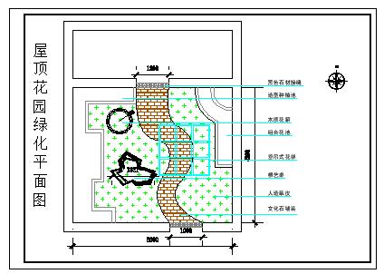 屋顶花园绿化设计cad平面图纸-图二