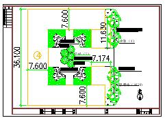 五棵松文化体育中心道路绿化工程cad设计图纸-图一