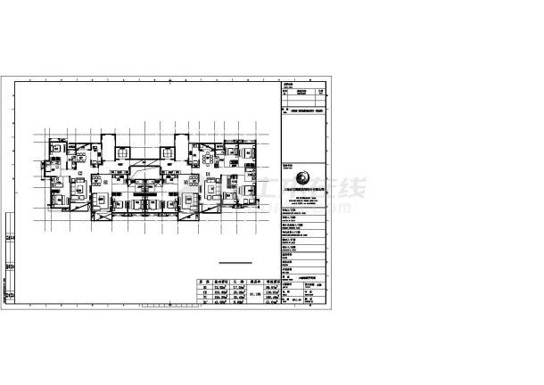 扬州市御景家园小区高层住宅楼标准层平面设计CAD图纸(2梯4户)-图一