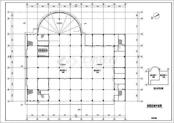 中学体育馆多联机空调工程设计cad施工图-图一