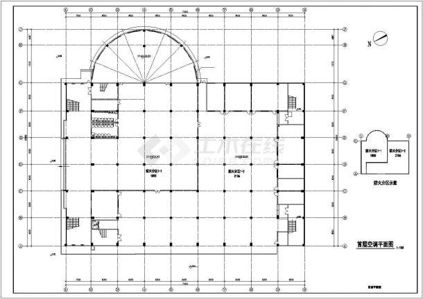 中学体育馆多联机空调工程设计cad施工图-图二