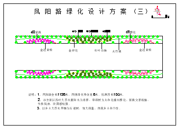 凤阳路绿化cad设计方案图纸-图一