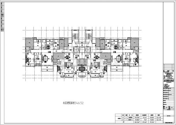 某城市跃层式一梯四户设计施工CAD图纸-图一