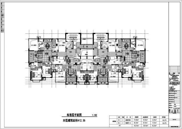 某城市高层复式一梯四户住宅设计施工CAD图纸-图一