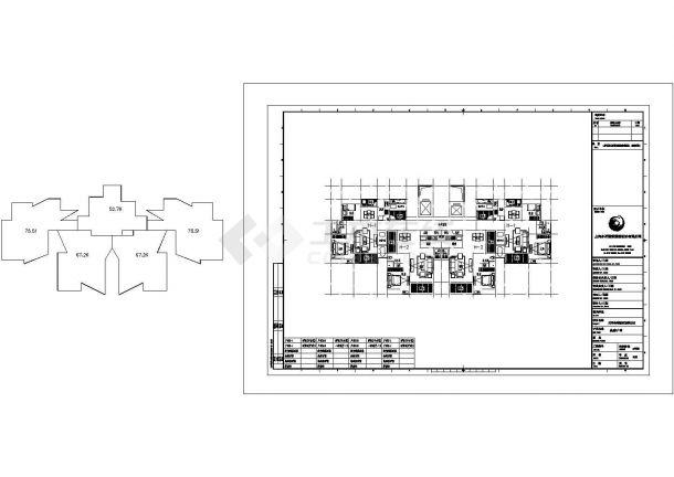 某城市十六层一梯四户住宅建筑设计施工CAD图纸-图一
