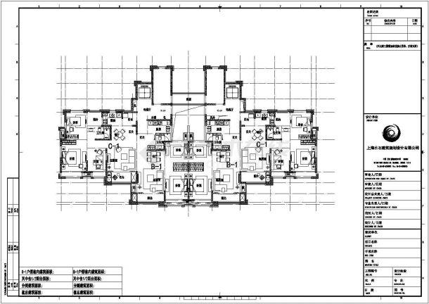 某高级小区高层一梯四户住宅建筑设计施工CAD图纸-图一